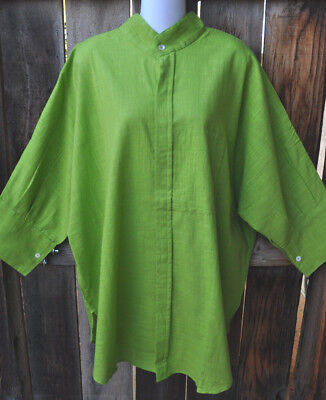 Dilemma Art To Wear Hand Woven 100  Cotton Big Shirt In Solid Lime Green  Os