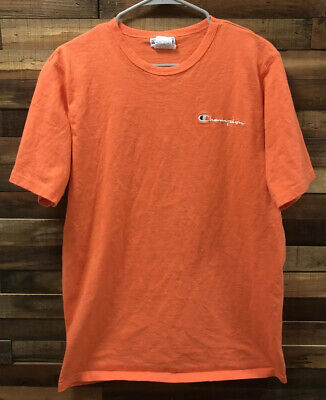 VTG 90s Champion Embroidered Spell Out Logo Men Size Large Coral EUC