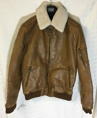Mens Zara Shearling Jacket, Brown Leather, Quilted Inside, Medium M