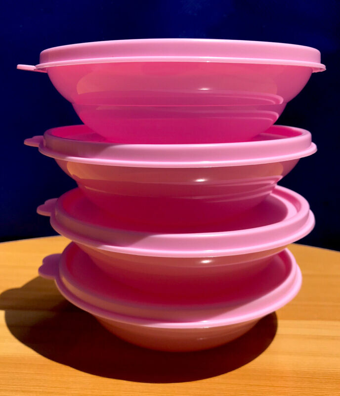 Tupperware MICROWAVE REHEATABLE SMALL CEREAL BOWLS (275ml)  Set  of 4 - pink
