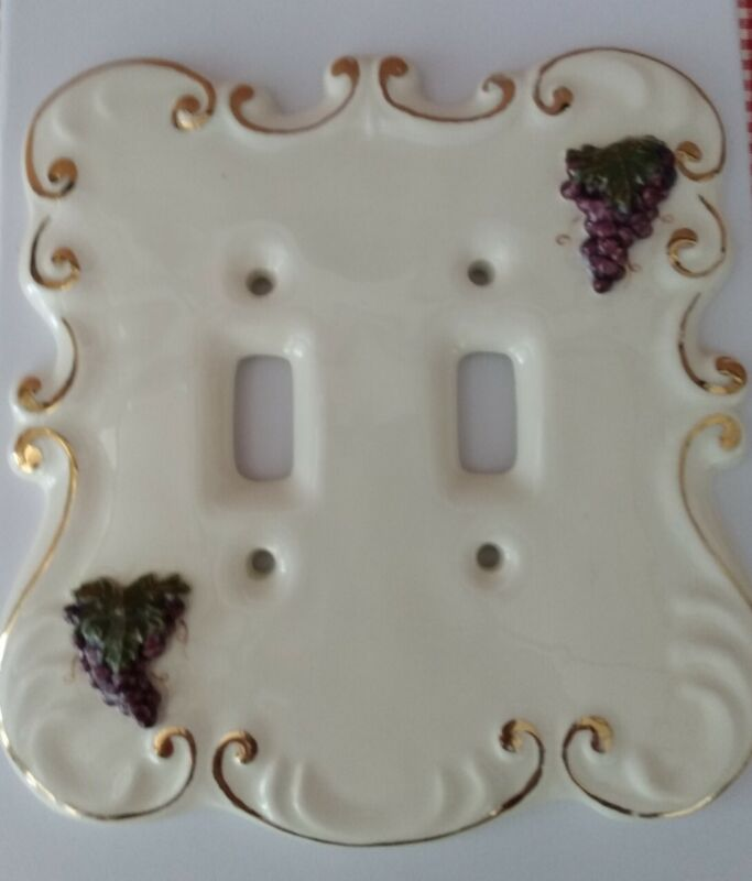 VTG Ceramic LIGHT SWITCH Cover Grapes & Leaves Gold trim-Made -Martha