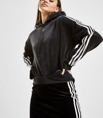 Rare Black Velour Adidas Originals 3 Stripe Cropped Hoodie Sweatshirt BNWT 8/10