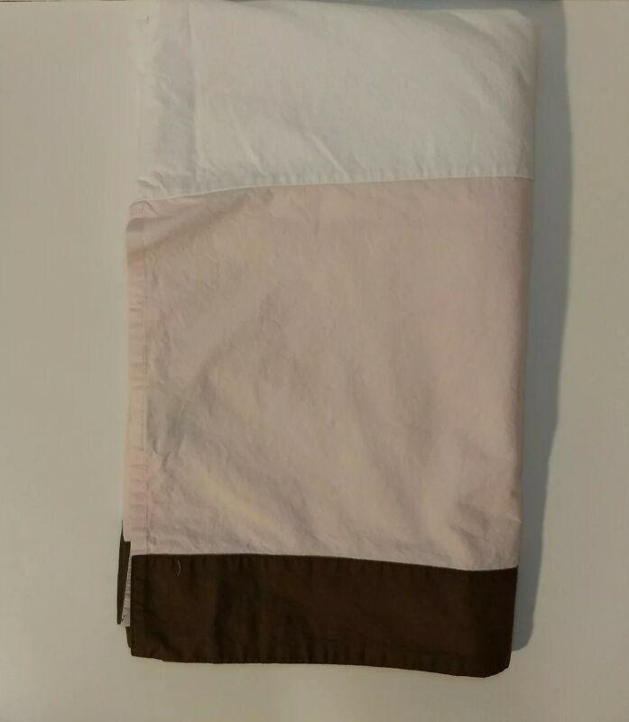 Restoration Hardware Crib Skirt / Dust Ruffle Light Pink with Brown Stripe