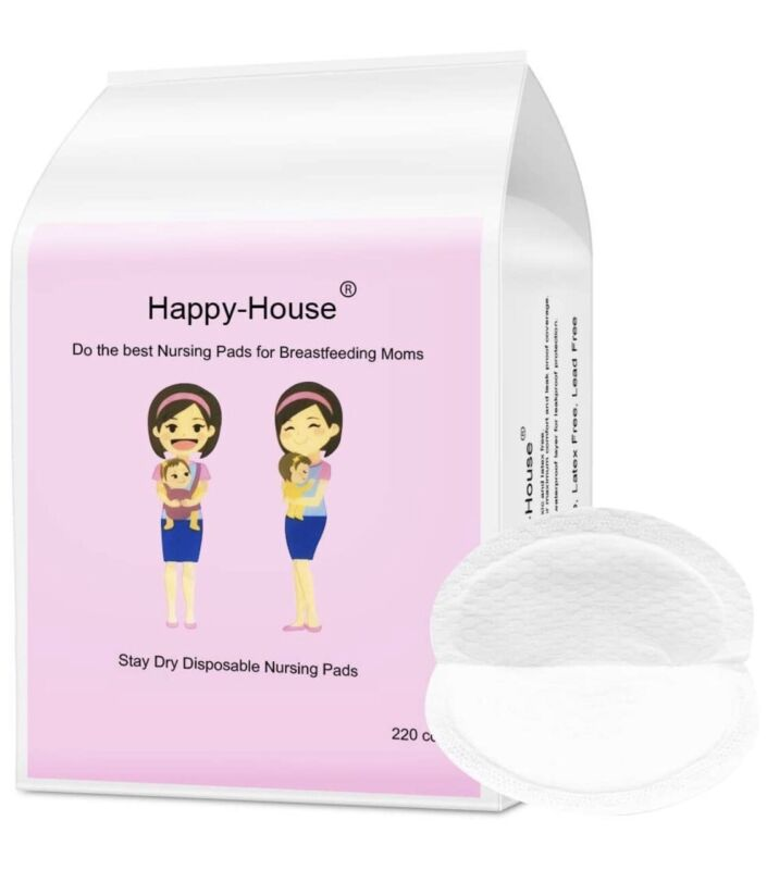 Happy-House 220 Count Stay Dry Disposable Nursing Pads for Breastfeeding NEW