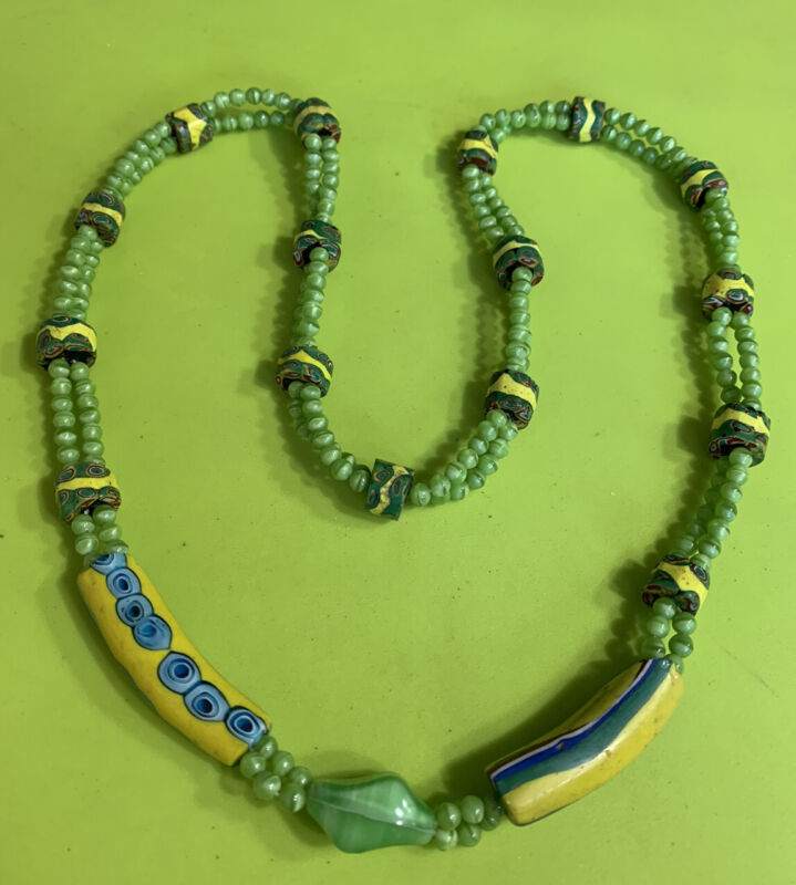 African Trade Bead Necklace Millefiori Yellow Green Blue Beads Estate