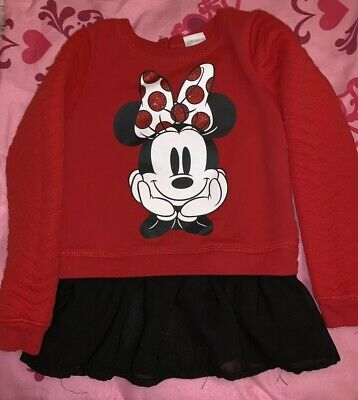 Disney Minnie Mouse Sweater With Black Tutu Like Bottom- Cute and Casual-size 4T (Red And Black Minnie Mouse Tutu)