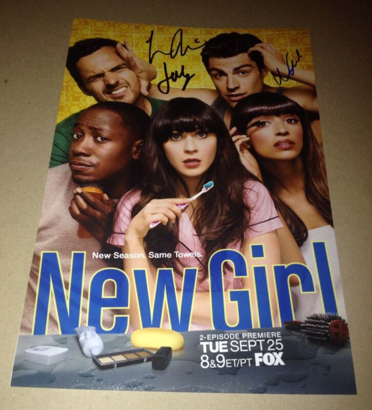 NEW GIRL Cast X 3 Authentic Hand Signed 8 X 12 IN PERSON Johnson Morris
