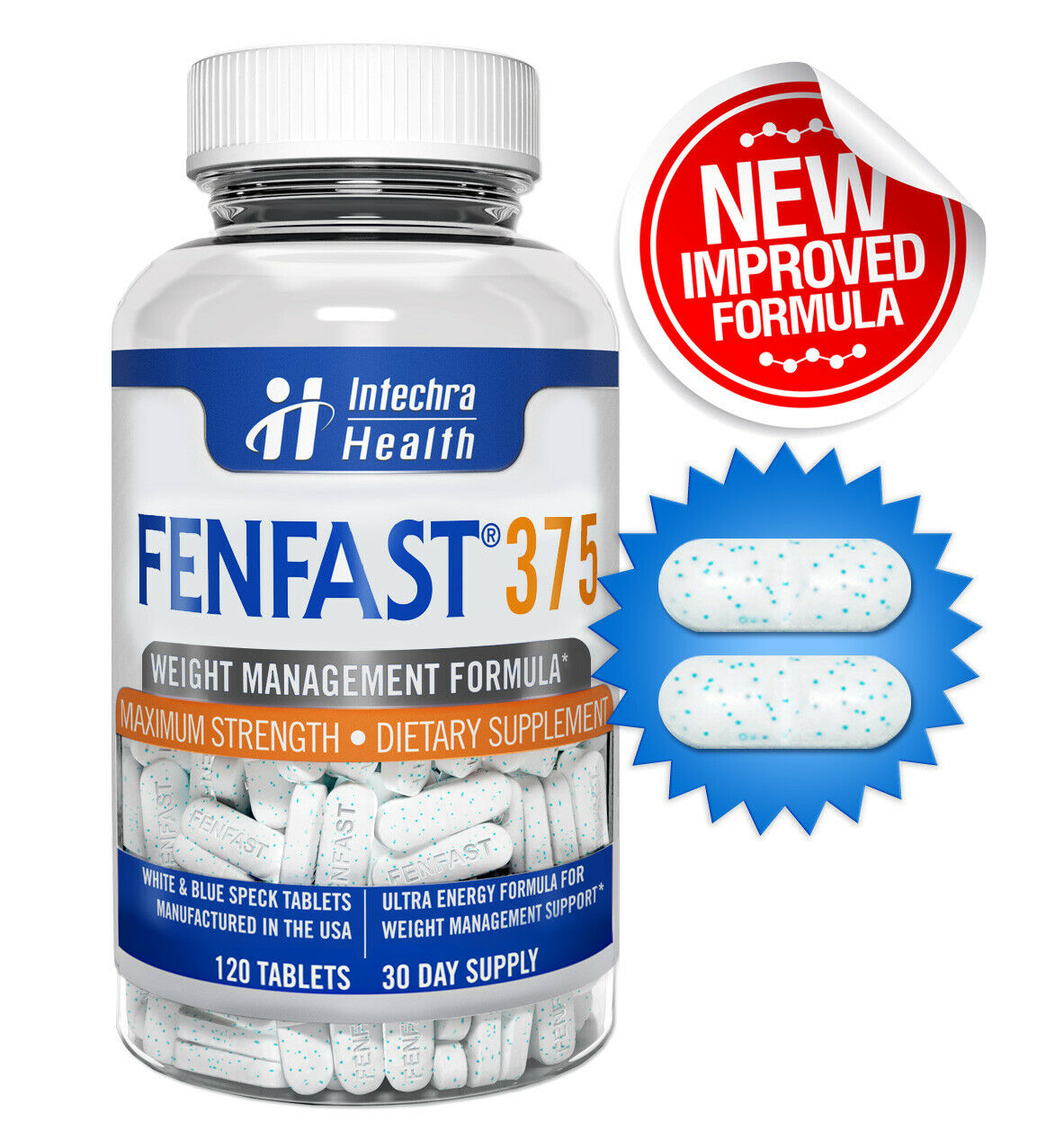 FENFAST 375 Best Weight Loss Diet Pills + Maximum Energy 120 White/Blue Tablets  3