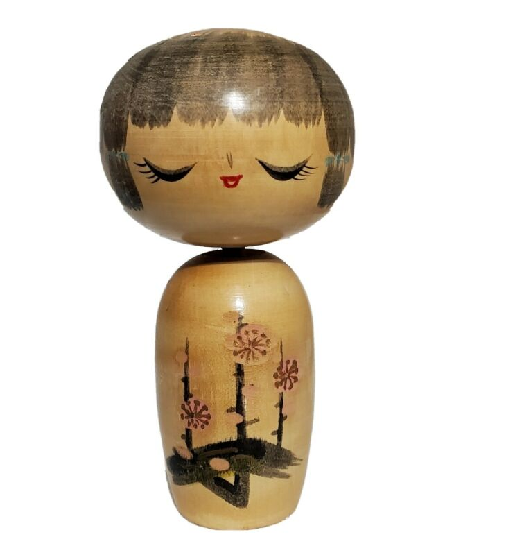 "Vintage Kokeshi Doll Japanese Wood Hand Painted Carved. MCM Flower Design 5"""