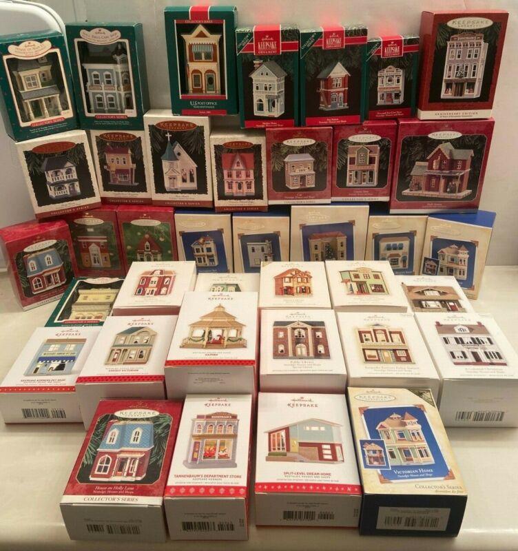 Hallmark Keepsake Ornaments Nostalgic Houses & Shops Set (Lot of 38)