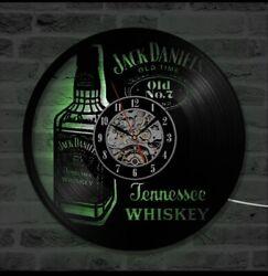 Vintage Jack Daniels LED Lighted Wall Clock - Vinyl Record Changes Colors