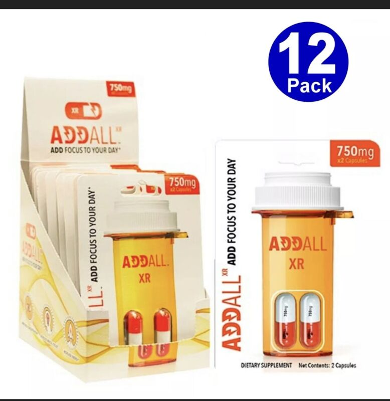 AddAll XR750mg,Energy Focus Concentration,12 Packs24 Authentic Guaranteed.