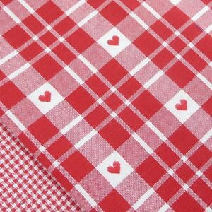 Cherry Red and White Heart Check Fabric / Scandinavian Christmas decorations