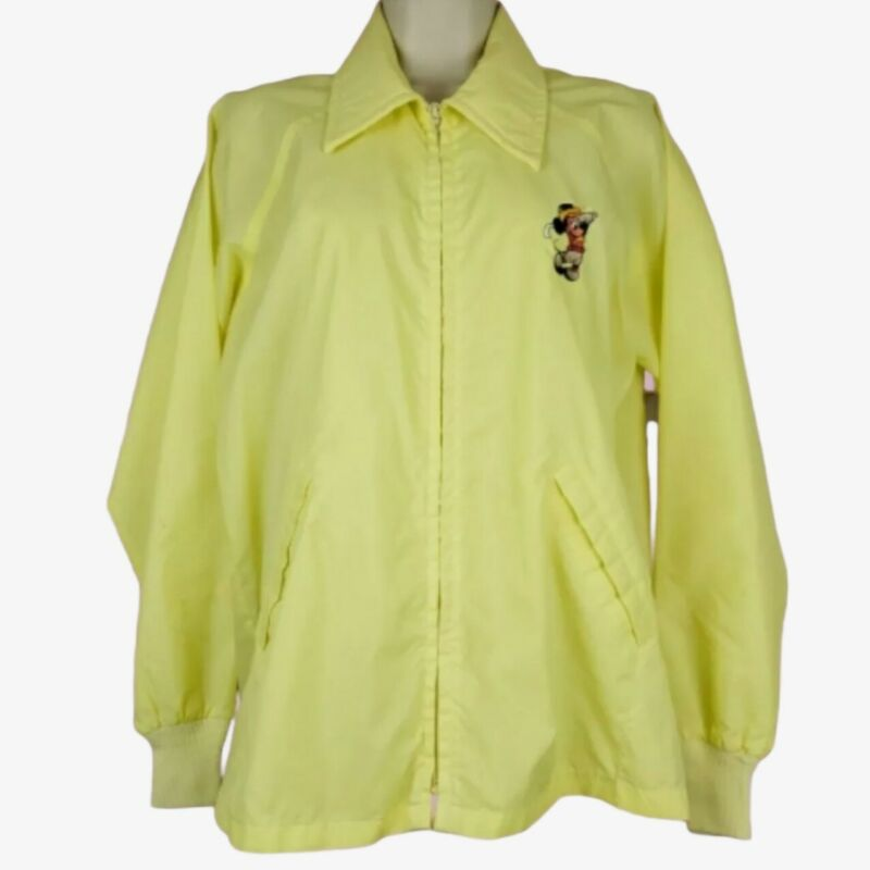 DISNEY Vtg Yellow Mickey Mouse Zip Windbreaker Jacket Women Size M Medium