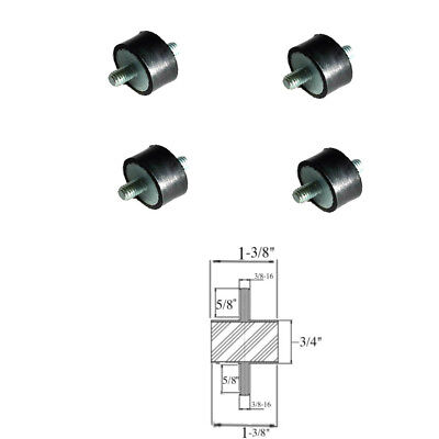 4 Rubber Vibration Isolator Mounts 1-38 Dia X 34 Thk 38-16 X 58 Long Stud