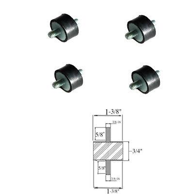4 Rubber Vibration Isolator Mounts 1-38 Dia X 34 Thk 38-16 X 58 Long Stud