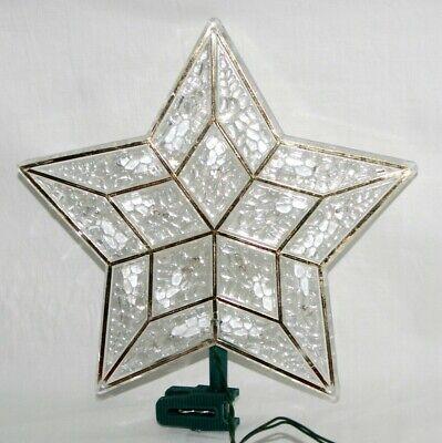 Vintage Christmas Tree Topper Lighted Star White Gold Plastic Light Up Decor