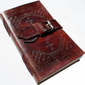HANDMADE EMBOSSED BUCKLE LEATHER JOURNAL DIARY NOTEBOOK GIFT WRAPPED