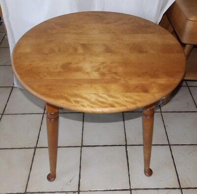 Birch Round End Table - Round Mid Century Maple Birch End Table / Side Table by Ethan Allen