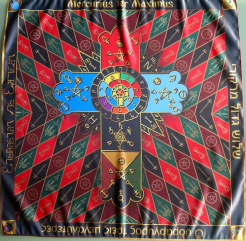 Ceremonial tablecloth Roses and cross - Symbol of the Order of the Golden Dawn