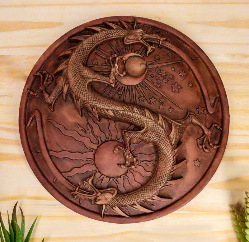 Ebros Maxine Miller Double Dragon Alchemy in Robust Yin Yang Astrology Plaque