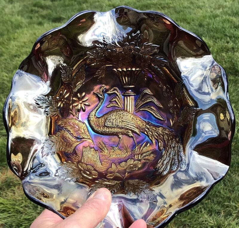 Large Antiques Millersburg Purple Peacock Urn Carnival Glass Deep Ruffle Bowl