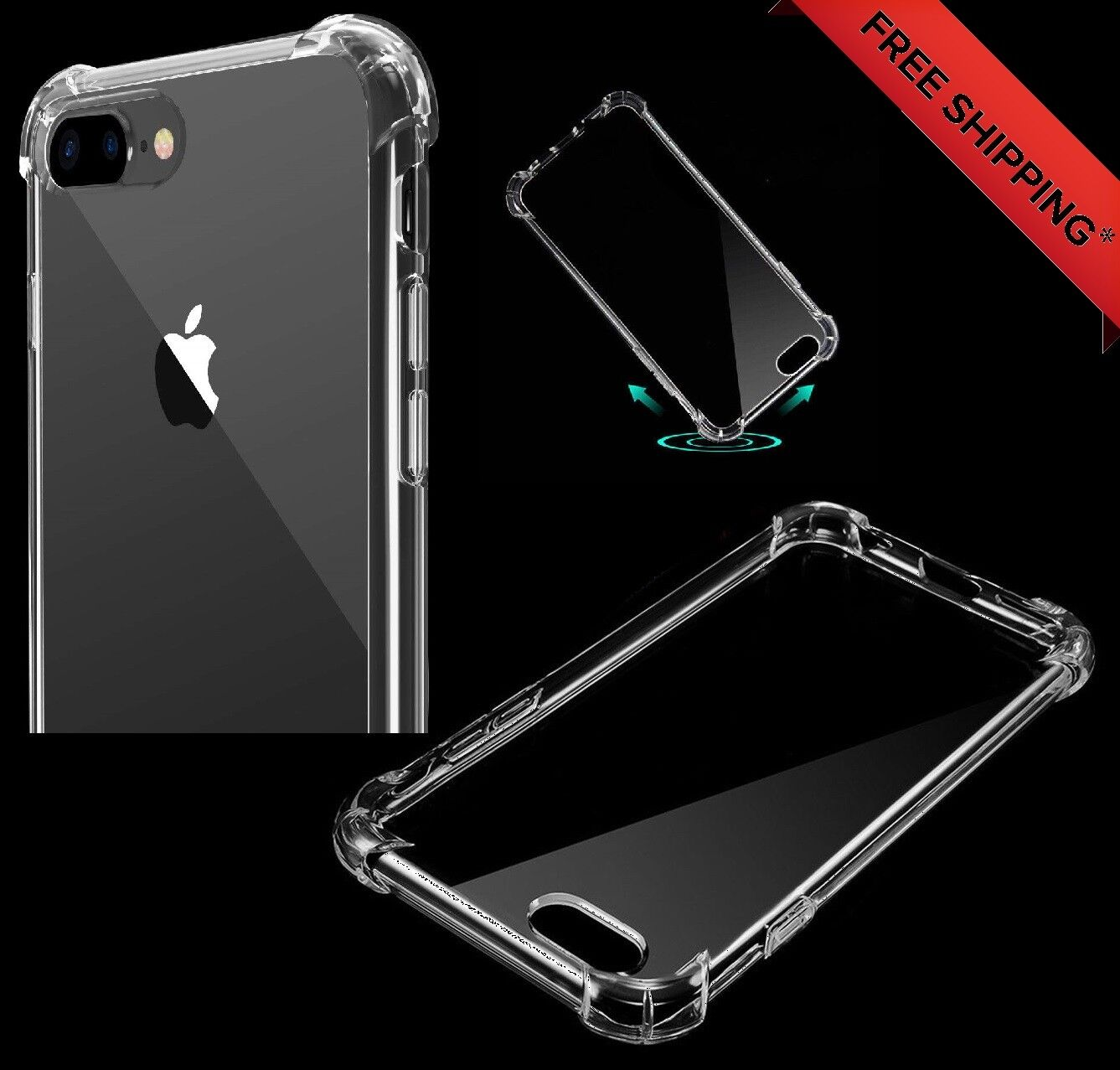 Reinforced Hard TPU Bumper Cushion Corner Transparent Case For iPhone 7 PLUS Cases, Covers & Skins