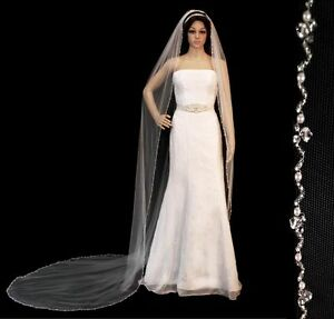 Crystal pearl beaded edge cathedral bridal wedding veil for Veil for champagne wedding dress