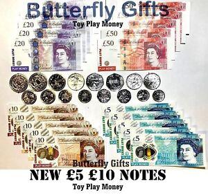 Children's Kids Play Fake Pretend Money Role Shops Cash £ Pound Notes Coins Toy