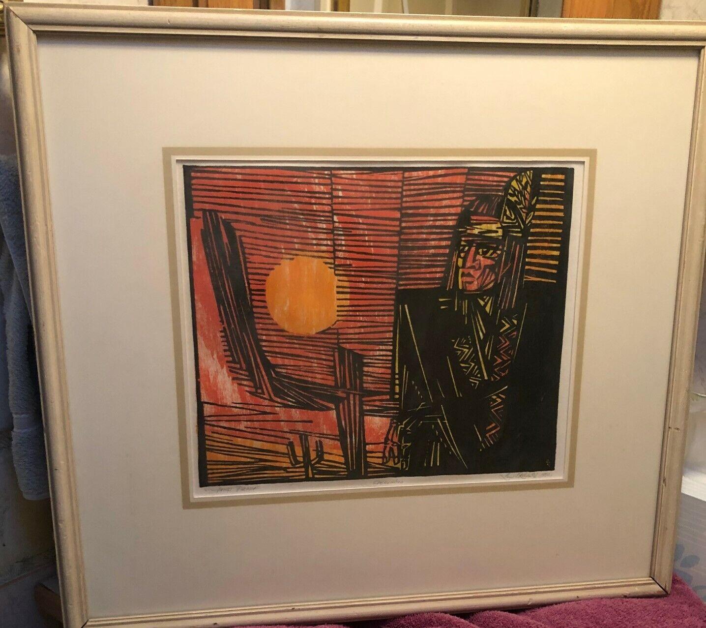 Geronimo An Original Oil Painting Woodcut By Leon Stanley Kawecki - $149.00