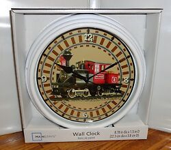 STEAM ENGINE WALL CLOCK # 1. 9 DIA. OLD TIME TRAIN.....FREE SHIPPING