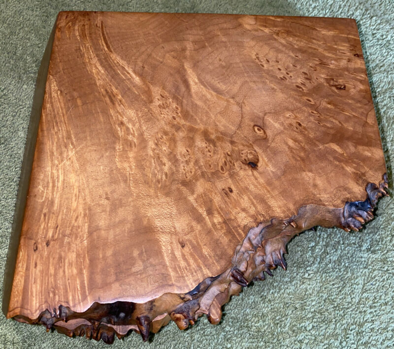 Michael Elkan Burlwood Box Live Edge Hand Carved Maple Hinged 2 Compartments