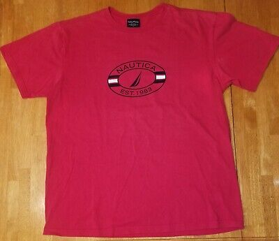 Nautica T-Shirt Large  Red Sailing Mens Size L L