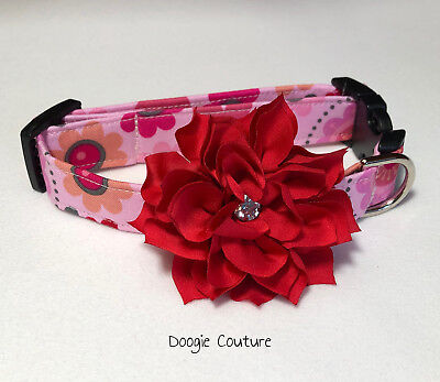 Love Blooms Here Valentine's Day Dog Collar Size XS-L by Doogie Couture - Valentine Dog