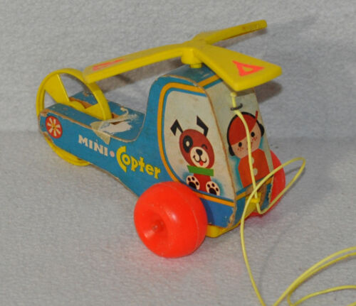 Vintage Fisher Price Mini Copter Pull Toy #448 Wooden Helicopter 1970 0320!!!