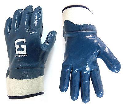 Better Grip Premium Blue Nitrile Coated Rubber Pvc Gloves Safety Cuff-bg105nitri