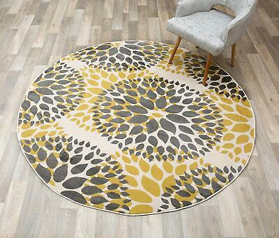 Round Yellow Gray Cream Bold Colors Area Rug Contemporary Circles Design Decor 6 Circles 6' Round Area Rug