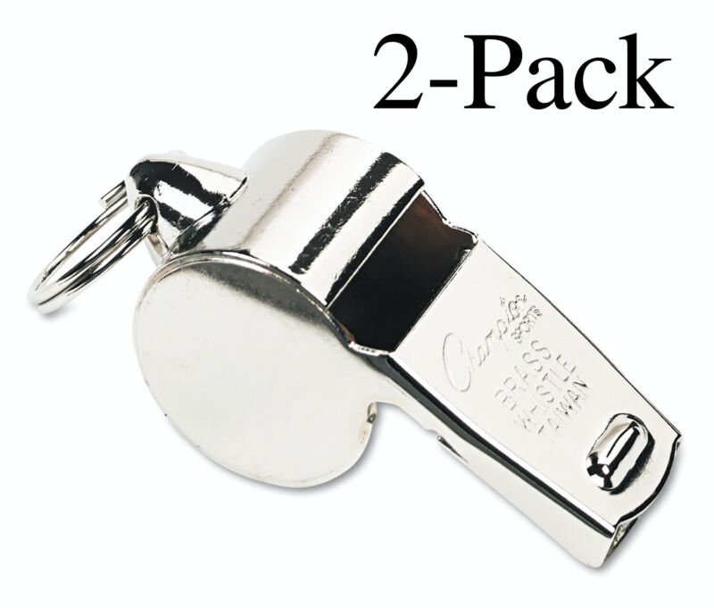 Champion Sports Heavy Weight Brass Whistle with Metal Ring (Pack of 2)