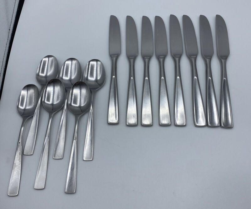 Rogers Stanley Roberts Co Allison Korea Stainless Flatware Set 8 Knives 6 Spoons