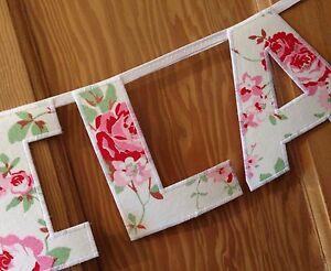 Girls Personalised Bunting~Cath Kidston White Rosali Flower New Baby