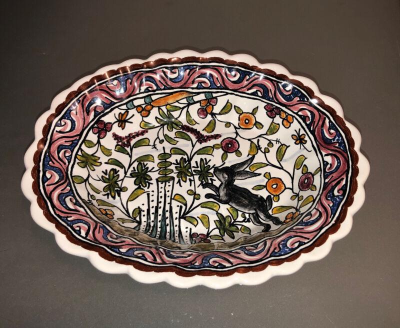 Vintage Estrela De Conimbriga Hand Painted Plate Animal Design Portugal .