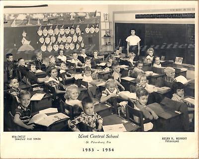 St Petersburg Florida West Central School 2nd Grade 1954 Student Classroom Photo