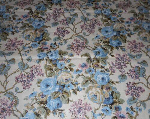 Antique Vtg Lilac Roses Floral Trellis Polished Cotton Chintz Fabric ~Blue Laven