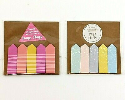 Target Dollar Spot Vintage Sticky Paper Page Flags Set Of 2 - Stripes And Dots