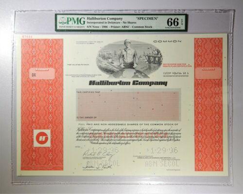1996 Halliburton Company Common Stock Specimen PMG Gem Uncirculated 66 EPQ