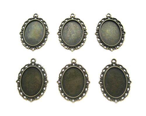 6 Ant. Brass VERSAILLES Style 18mm x 13mm CAMEO PENDANT & Earrings Settings