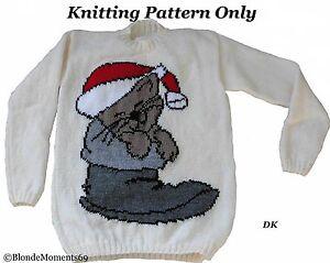 Christmas kitty cat in boot jumper sweater knitting - Cat jumper knitting pattern ...