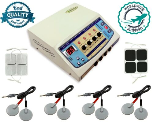 4channel Electrotherapy Physiotherapy Stress Relief Carbon with Sticky Pads Unit