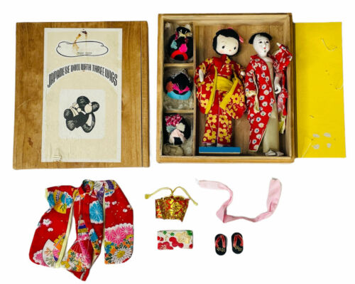 VINTAGE HANAKO JAPANESE DOLL WITH THREE WIGS IN BOX EXTRA DOLL and ACCESSORIES