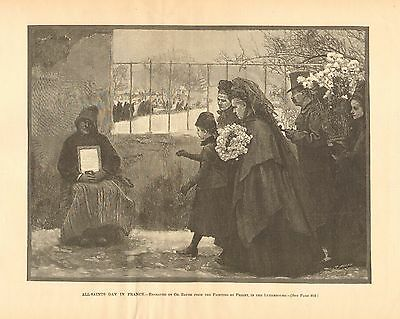 All Saints Day In France, Poverty, Poor, Charity, Vintage 1890 Antique Art Print - All Saints Day Costumes